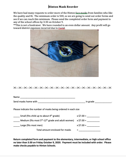 Hinton Face Mask Order Form