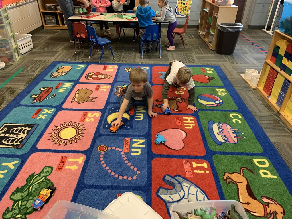 Preschool playing cars