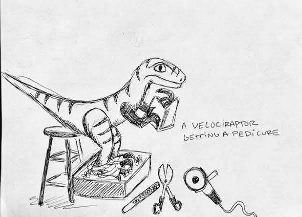 A Velociraptor getting a pedicure