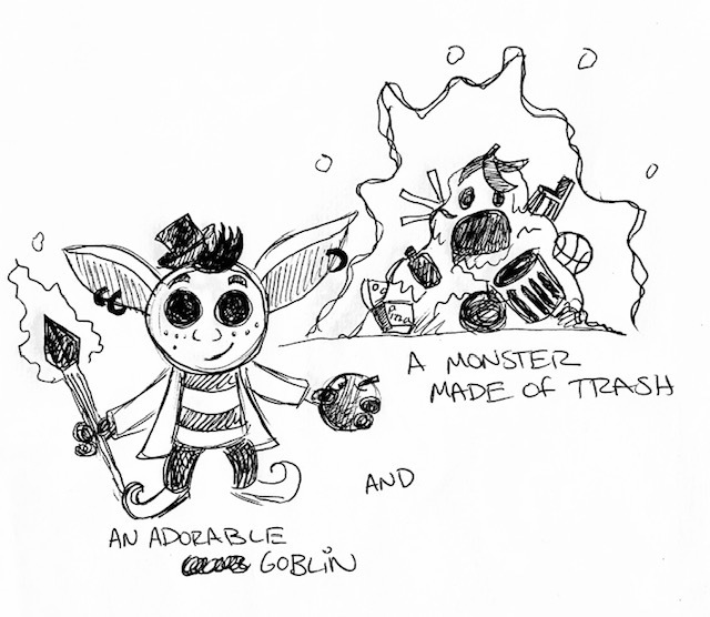 Adorable Goblin and A Monster made out of Trash